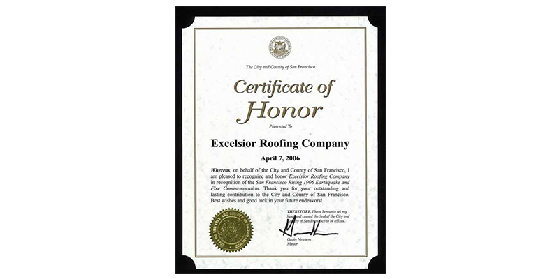 Excelsior Roofing Certificate of Honor